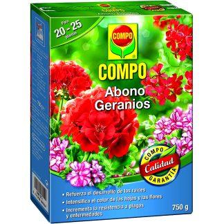 Adob per a geranis de jardí i plantes de flor compo