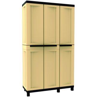 Armari de resina amb potes i 3 portes color sorra i marró