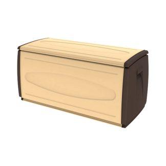 Baúl de resina con ruedas 308 L acabado en color arena y marrón