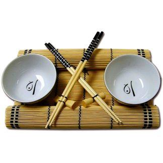 Vaixella o joc de taula oriental per a 2 persones amb bol, pals xinesos i tovalla