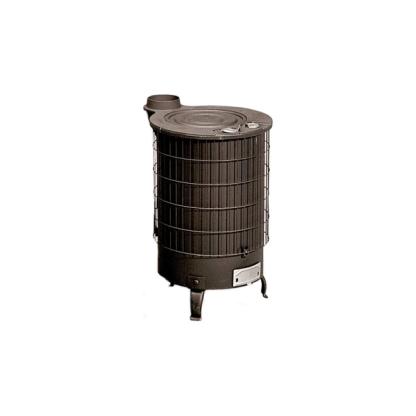Estufa de chapa cilíndrica en color negro apta para leña y carbón