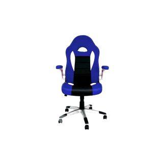 Silla oficina gaming azul y negro