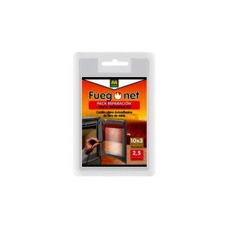 Cordón plano adhesivo para estufas y chimeneas para colocarse entre la puerta y el vidrio reduciendo la pérdida de calor. 10mm anchura y 3mm de grosor.