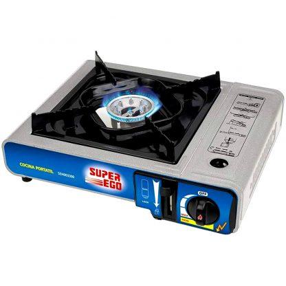 Cuina a gas portàtil SUPER-EGO per a cartutx d'un sol ús, perfecte per a càmping, platja i per a cuinar en excursions a la muntanya