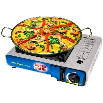 Cocina a gas portátil SUPER-EGO cartucho desechable, perfecta para camping, playa y para cocinar en excursiones a la montaña
