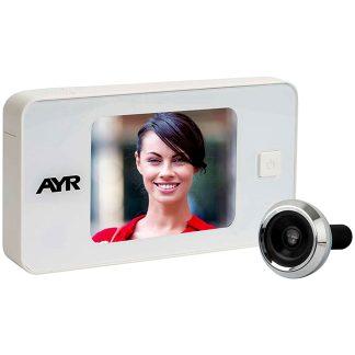 Mirilla digital AYR para la seguridad del hogar modelo 752 gama cebra blanco y negro cromo y latón