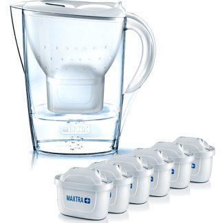 Jarra filtrante martella brita blanca con 6 filtros MAXTRA para filtrar y purificar agua