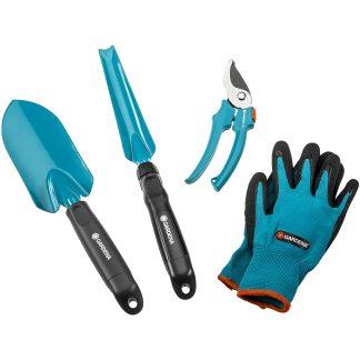 Juego de herramientas de cultivo para jardín para plantar y trasplantar con gubia, tijeres podadoras, guantes y pala Gardena, kit 4 piezas