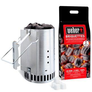 Briquetas Weber para barbacoa i chimenea de fuego 4 kg, chimenea encendido y pastillas