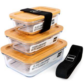 Porta-alimentos DUETT de cristal y tapa de bambú