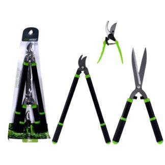 Tijeras de podar, herramientas podadoras juego de 3 unidades Non para el huerto, el patio, la terraza y el jardín