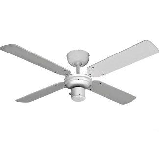 Ventilador de sostre amb 4 aspes en model bàltic color blanc 50w