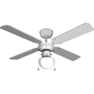 Ventilador de techo con 4 aspas en modelo caribe color blanco 50w
